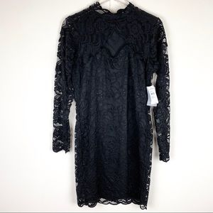 Missguided High neck Black Cocktail Lace Dress